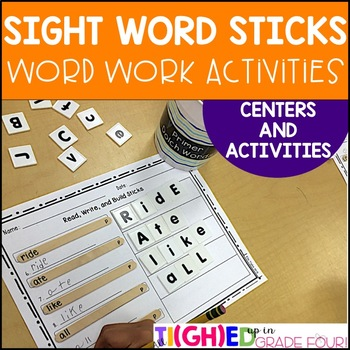 Sight Word Sticks! Word Work Centers and Games