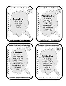 20 Word Work Task Cards - Set 4
