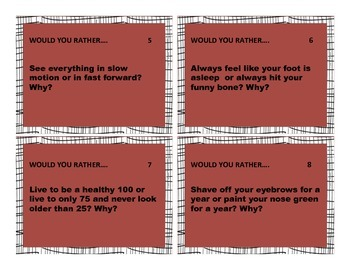 20 Would You Rather? Creative Writing Task Cards