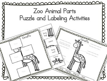 Zoo Animals - Puzzle Parts and Labeling Activities (Set of 20)