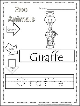 20 Zoo Animal themed printable preschool worksheets. Color, Read, Trace