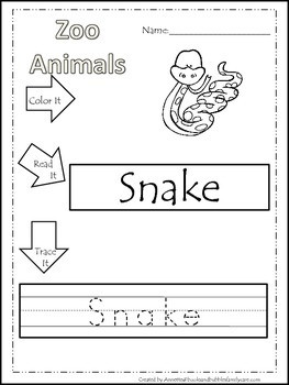 20 Zoo Animal themed printable preschool worksheets. Color