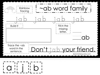 20 ~ab Word Family Tracing and Writing Worksheets.  ELA worksheets.