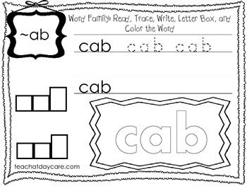 20 ~ab Word Family Tracing and Writing Worksheets.  ELA wo