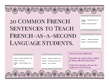 20 common French Sentences for French as a Second Language Learners