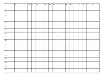 20 day attendance sheet
