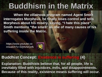 20 examples of Buddhism in the Matrix (with graphic organizer & links to clips)