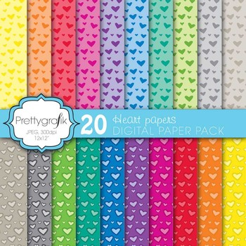 20 heart valentine digital paper, commercial use, scrapbook papers - PS579