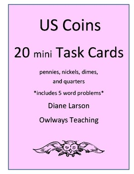 20 mini Coin Task Cards Worksheets