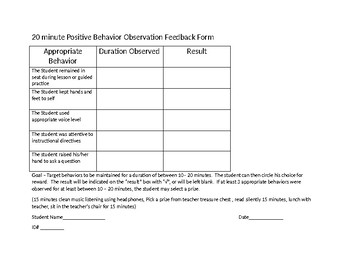 20 minute Positive Behavior Feedback Form