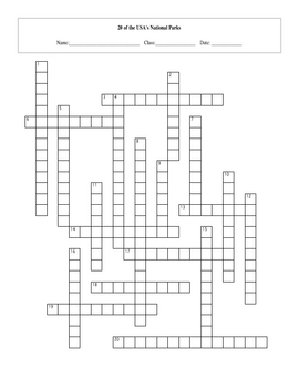 20 of the USA's Great National Parks Crossword with Key