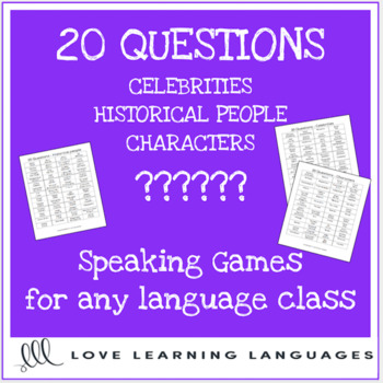 20 questions games for languages - Celebrities, Historical Figures, Characters