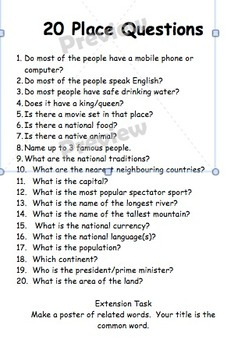 20 questions  (words, numbers, places)