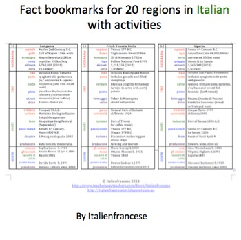 20 regions bookmarks with activities in Italian