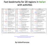 20 regions bookmarks with activities in Italian
