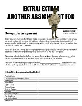 20's 30's Interwar Newspaper Assignment