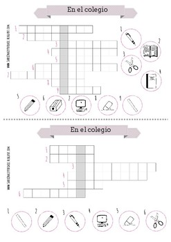 20 spanish crosswords about fruits, vegetables, school, furniture and clothes
