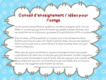 20 sujets d'écriture pour l'hiver - winter-themed writing prompts - French