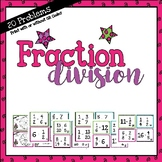 20 task cards for Dividing Fractions - print with or w/o QR