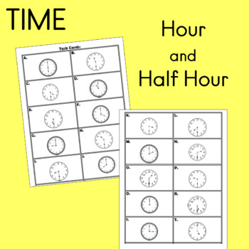 time to the hour and half hour task cards bundle