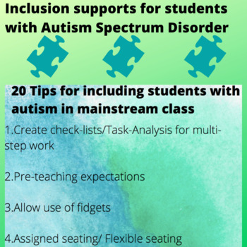 20 tips for including students with autism in mainstream class