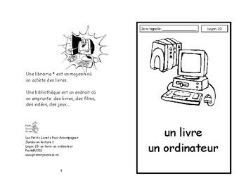 20) un livre et un ordinateur- livret de lecture ENFANT C1 Mat. et 1ère