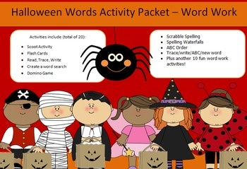 Halloween word/work spelling packet -20 words - 46 pages