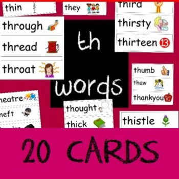 20 word cards that begin with th