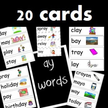 20 word cards with the 'ay' sound