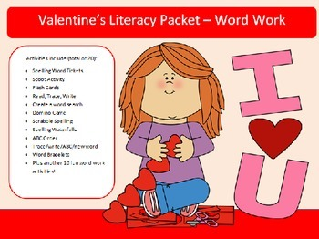 Valentines Day-20 words - 20 activities of NO PREP word work-45 pages