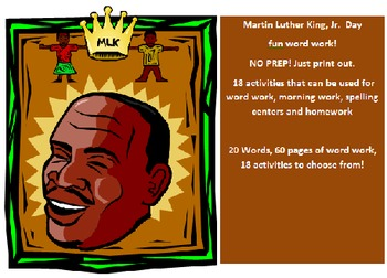Martin Luther King Day word work packet - 20 activities NO PREP - 60 pages