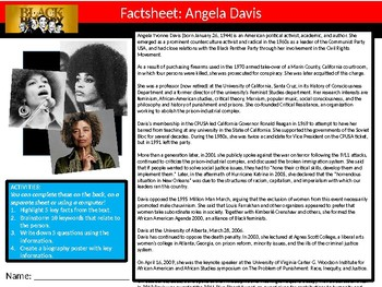 20 x Black History Month Famous People Icons Factsheets Worksheet Keywords