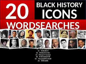 20 x Black History Month Famous People Icons Wordsearches Wordsearch Keywords