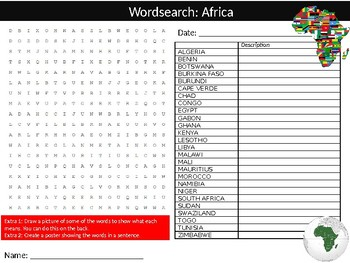 20 x Countries Wordsearch Puzzle Sheet Keywords Country Geography