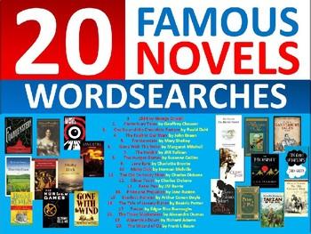 20 x Famous Novels Wordsearches English Literature Settler Wordsearch