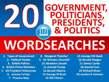 20 x Government & Politics Wordsearch Sheet Starter Activity Keywords Leaders