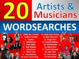 20 x Musicians Wordsearch Sheet Starter Activity Keywords Cover Music Singers