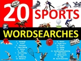 20 x Sports Wordsearches PE Fitness Health Starter Settler Activity Homework