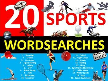 20 x Sports Wordsearches PE Fitness Health Starter Settler Activity Homework