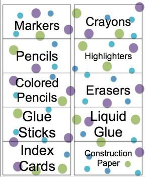 Classroom Labels Purple, Green & Blue Polka Dots - Math, Supplies, Etc....