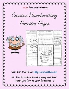 200 Cursive Handwriting Practice Pages