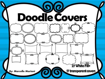 DOODLE COVER PAGES (27 WHITE FILL+17 NO FILL) Personal & Commercial Use
