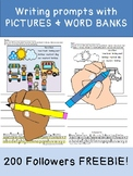 200 FOLLOWERS FREEBIE: Writing prompts with pictures, word bank, alphabet model