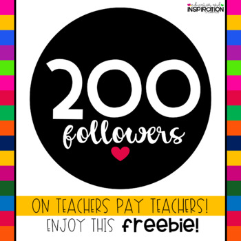 200 Followers FREEBIE from Education and Inspiration