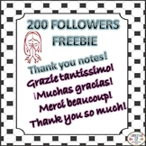200 Followers Freebie Thank you notes!
