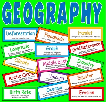 200 GEOGRAPHY FLASHCARDS TEACHING RESOURCES CLASSROOM DISPLAY KEY WORDS