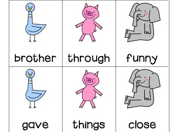200 High Frequency Words - Fountas and Pinnell - Mo Willems Version