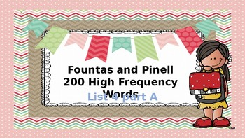 200 High Frequency Words Fountas and Pinnell List 4