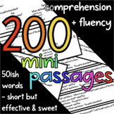 200 Mini Reading Fluency Passages - 2nd Grade - 50ish Words - Task Cards