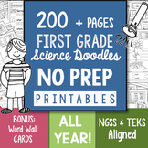 Doodle Notes -200+ Page NO PREP Science Doodles First Grade Printables Full Year